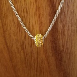 Yellow Crystal Sterling Silver Slider Charm
